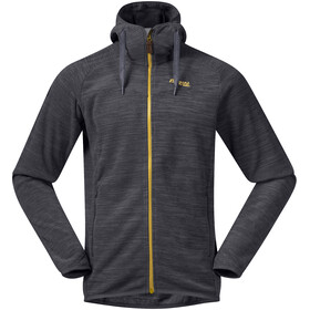 Bergans Hareid Fleece Jacket Herren solid charcoal melange/waxed yellow